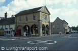 Public realm dominated by road infrastructure - old Town Hall, Witney