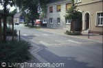 Properly positioned speed cushions with cycle by-pass, Herne (Germany) - taken in 1990