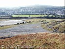 View from the mountain overlooking maesteg, and showing the playing field atop a slag heap.